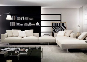 Black and white modern living room white sectional sofa