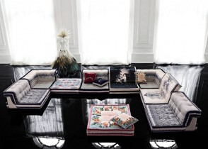 Eclectic glamour living room sofa