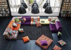 Eclectic living room multicolor sofa
