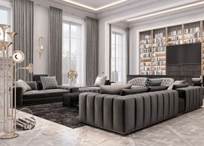 Channel tufted sectionsal sofa luxury interior design living room