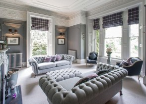 Grey linen traditional tufted