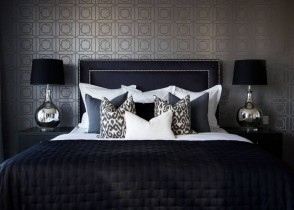 Black glamorous bedroom black bed