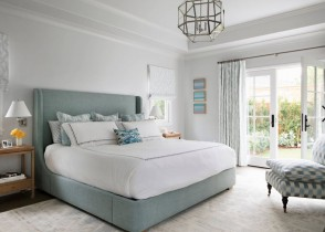 Cozy luxury bedroom decor light blue bed
