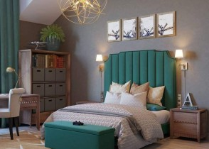 Green and grey bedroom olive bed modern cozy bedroom