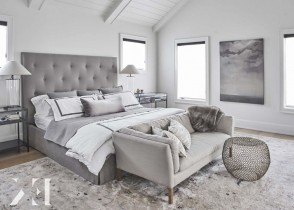 Grey velvet cozy warm bedroom decor