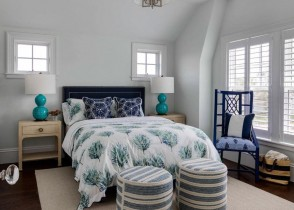 Navy blue bedroom white walls luxury home