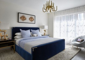 Navy blue velvet bed blue headboard luxury bedroom