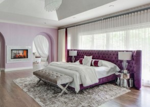 Pink Velvet bed huge headboard modern luxury bedroom