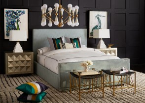 Tiffany bed eclectic bedroom dark walls brass decor