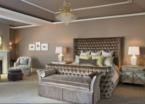 Tufted taupe velved luxury bed bedding bedroom