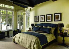 blue green modern bedroom upholstered navy bed