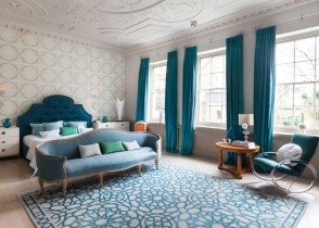 turquoise bedroom velvet bed
