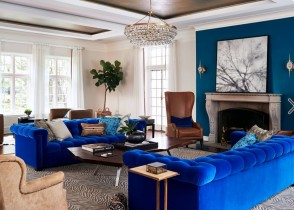 Royal blue tufted sofas transim