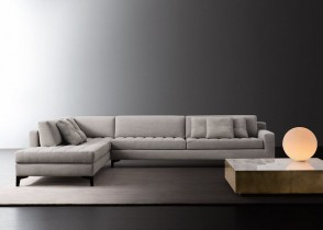 Contemporary modern grey sectional tufted