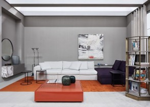 Contemporary modern living room purple white sectional