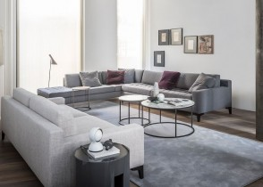 Modern grey tufted sectional sofa