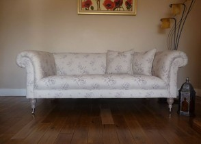 White sofa eclectic floral fabric