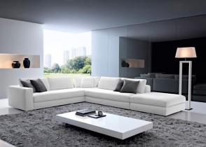 White L-sectional modern city-modern-loveseats