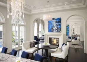 White and navy blue living room sofas dining chairs