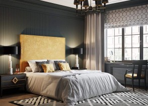 Yellow gold bed grey walls luxury bedroom