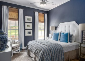 Traditional cottage bedroom decor blue walls white bed