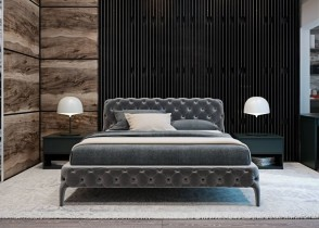 Tufted soho bed in grey velvet luxury bedroom decor