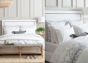 White bedroom velvet bed luxury interiors