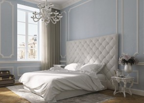 white tufted bed headboard white bedroom 3